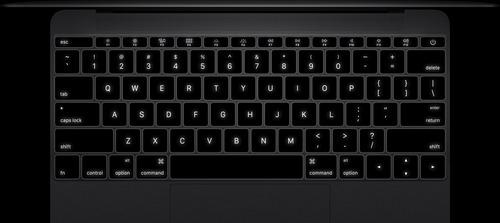 Apple MacBook 12 šviečianti klaviatūra